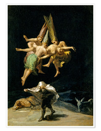 Premium poster  Witches' flight - Francisco José de Goya