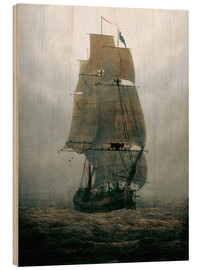Wood print  Sailing ship in the fog - Caspar David Friedrich