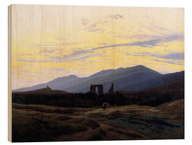 Wood print  Eldena Ruin - Caspar David Friedrich