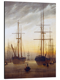 Aluminium print  View of a harbor - Caspar David Friedrich
