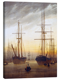 Canvas print  View of a harbor - Caspar David Friedrich