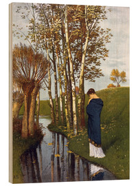 Wood print  Autumn thoughts - Arnold Böcklin