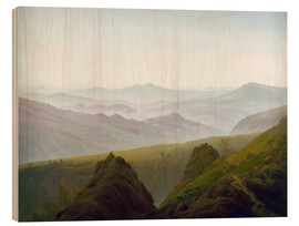 Wood print  Morning in the Mountains - Caspar David Friedrich