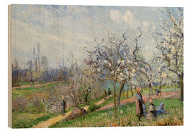 Wood print  Orchard in Blossom - Camille Pissarro