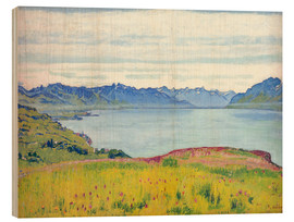 Wood print  Landscape at Lake Geneva - Ferdinand Hodler