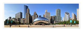 Premium poster Panorama Millenium Park in Chicago mit Cloud Gate