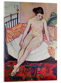 Acrylic print  Nude with a striped blanket - Marie Clementine Valadon
