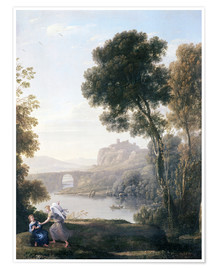 Premium poster  Landscape with Hagar and the Angel - Claude Lorrain