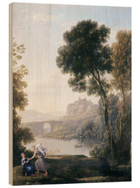 Wood print  Landscape with Hagar and the Angel - Claude Lorrain