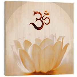 Wood print  Lotus with Om - Christine Ganz