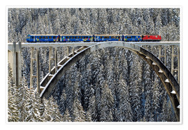 Premium poster Arosa train | Langwies Viaduct