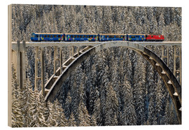 Wood print  Arosa train | Langwies Viaduct - Olaf Protze