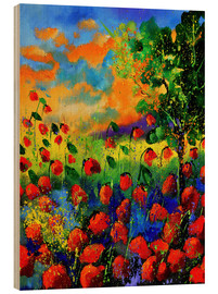 Wood print  Field of poppies - Pol Ledent