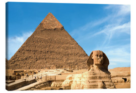Canvas  The Sphinx in front of the Great Pyramid of Khufu - Miva Stock