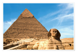 Poster  The Sphinx in front of the Great Pyramid of Khufu - Miva Stock