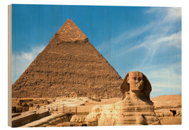 Wood print  Sphinx in front of the Great Pyramid - Miva Stock
