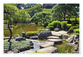Premium poster Japanese garden with pond