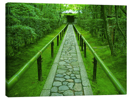 Canvas print  Stone path with bamboo railing - Shin Terada