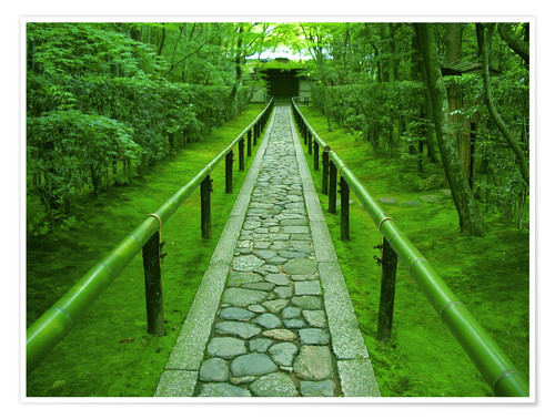 Premium poster Stone path with bamboo railing