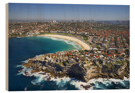 Wood print  Aerial view of Bondi Beach - David Wall