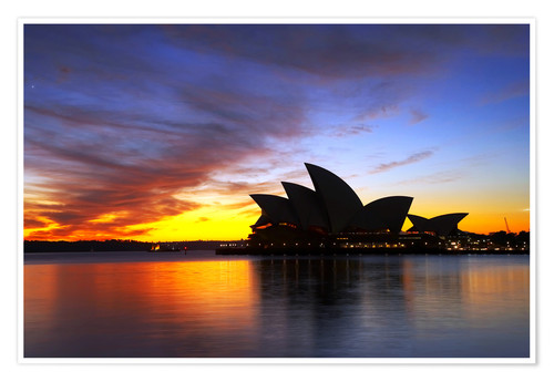 Premium poster Sydney Opera House in the evening light
