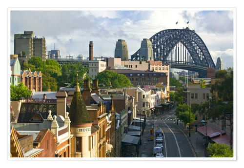 Poster View of the Sydney Harbour Bridge overlooking buildings