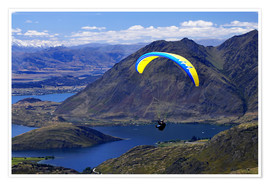 Premium poster  Paraglider over mountain landscape - David Wall