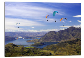 Aluminium print  Paragliders over Lake Wanaka - David Wall