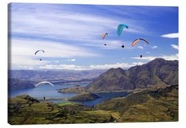 Canvas print  Paragliders over Lake Wanaka - David Wall