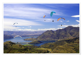 Premium poster Paragliders over Lake Wanaka