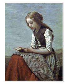 Premium poster Little girl reading
