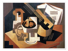 Premium poster  Guitar and fruit bowl - Juan Gris