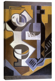 Canvas  Still life with wine bottle - Juan Gris