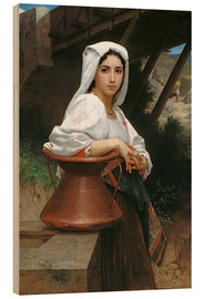 Wood print  Young Italian Girl at a well - William Adolphe Bouguereau
