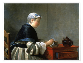Premium poster Woman drinking tea