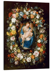 Aluminium print  Flowers wreath with virgin, child and two angels - Jan Brueghel d.Ä.