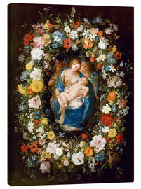 Canvas print  Flowers wreath with virgin, child and two angels - Jan Brueghel d.Ä.