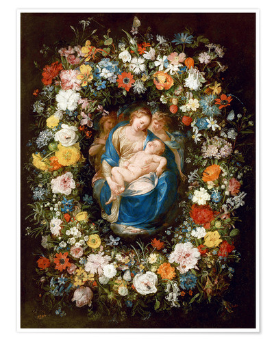 Premium poster Flowers wreath with virgin, child and two angels