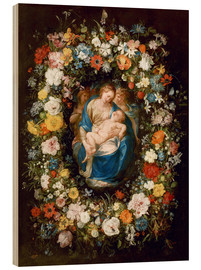 Wood print  Flowers wreath with virgin, child and two angels - Jan Brueghel d.Ä.