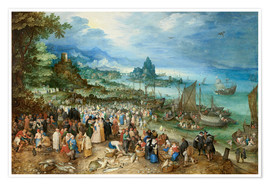 Premium poster  Seaport with Christ's Sermon - Jan Brueghel d.Ä.