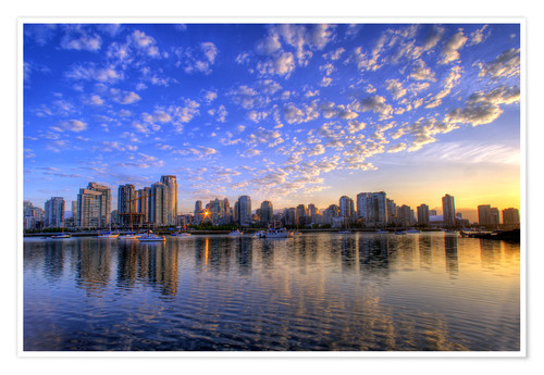 Premium poster Blue sky at sunrise over the skyline of Vancouver