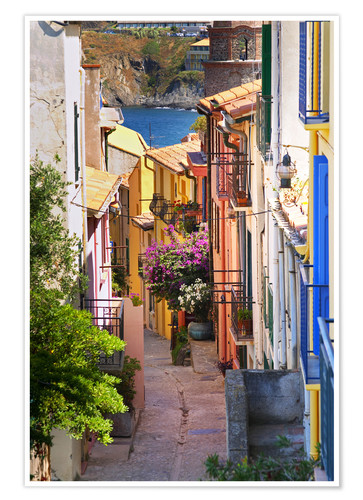 Premium poster A narrow street with colorful houses