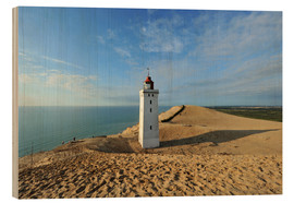 Wood print  Lighthouse Rubjerg Knude in Denmark - HADYPHOTO