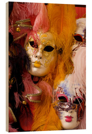 Wood print  Colourful carnival masks from Venice - Bill Bachmann