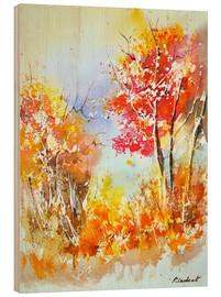 Wood print  Autumn boundary ridge - Pol Ledent