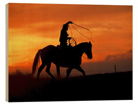Wood print  Cowboy with horse in the sunset - Joe Restuccia III