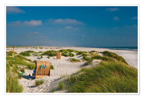 Premium poster Amrum beach with dunes and marram grass