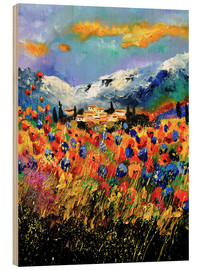 Wood print  Field with wildflowers - Pol Ledent