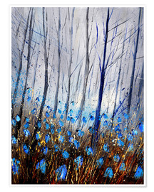 Premium poster Blue forest flowers