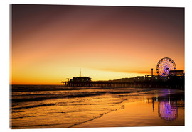 Acrylic print  Santa Monica Pier in the evening - Dennis Flaherty